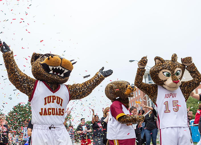 IUPUI mascots greet the public at the Indy Pride Parade.